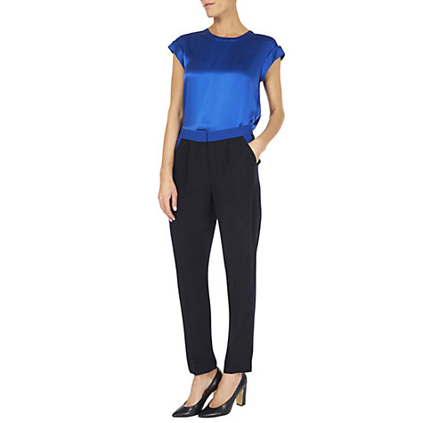 Buy Hobbs Katie Silk Cap Sleeve Top, Blue Lapis Online at johnlewis.com