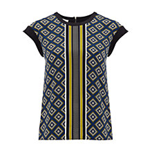 Buy Hobbs Katie Silk Top, Navy Online at johnlewis.com