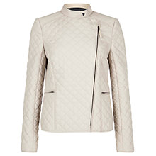 Buy Hobbs Amelia Quilted Jacket, Stone Grey Online at johnlewis.com