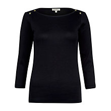 Buy Hobbs Coco Button Detail Top, Navy Online at johnlewis.com