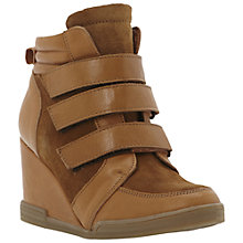 Buy Dune Lacota Multi-Strap Leather Wedge Trainers, Tan Online at johnlewis.com