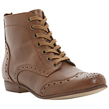 Buy Dune Pretenders Leather Lace Up Brogue Ankle Boots, Tan Online at johnlewis.com