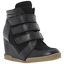 Buy Dune Lacota Multi-Strap Leather Wedge Trainers, Black Online at johnlewis.com