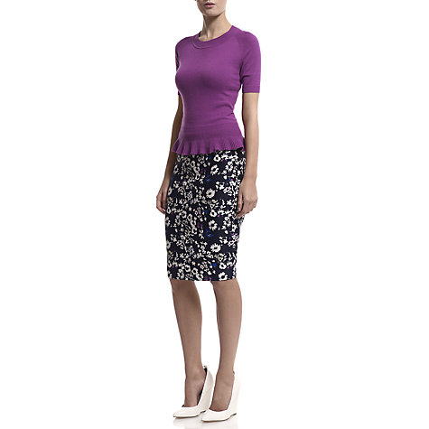 Buy Havren Cashmere Peplum Top, Purple Online at johnlewis.com