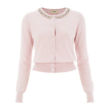 Buy Havren Cashmere Blend Beaded Cardigan, Pale Pink Online at johnlewis.com