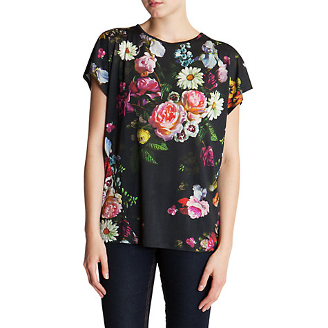 Buy Ted Baker Floral Oil Painting Print T-Shirt, Black/Multi Online at johnlewis.com