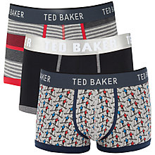 Buy Ted Baker Skier Print Stripe Plain Trunks, Pack of 3 Online at johnlewis.com