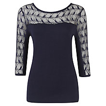 Buy Alexon Lace Insert Top, Navy Online at johnlewis.com