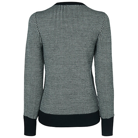 Buy Jaeger Check Zip Sleeve Jumper, Black Online at johnlewis.com