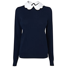 Buy Jaeger Petal Collar Sweater, Navy Online at johnlewis.com