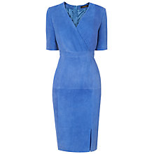 Buy Jaeger Suede Wrap Dress, Bright Blue Online at johnlewis.com