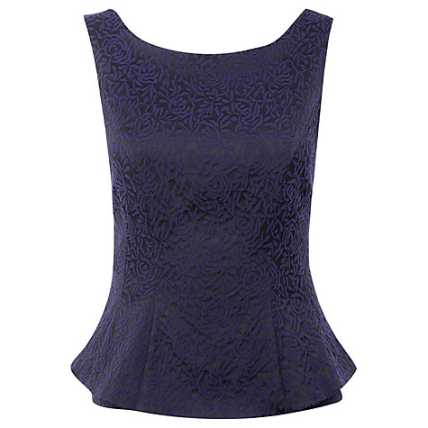 Buy Kaliko Jacquard Peplum Top, Black Online at johnlewis.com