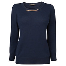 Buy Jaeger Chain Detail Jumper, Navy Online at johnlewis.com