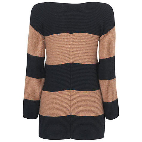 Buy Jaeger Stripe Swing Jumper, Camel Online at johnlewis.com