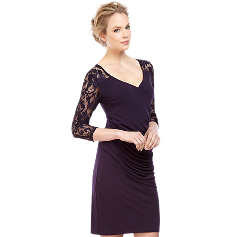 Buy Kaliko Lace Yoke Dress, Dark Purple Online at johnlewis.com