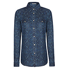 Buy Mango Printed Denim Shirt, Navy Online at johnlewis.com