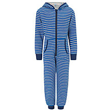 Buy John Lewis Boy Striped Hooded Onesie, Blue/Grey Online at johnlewis.com