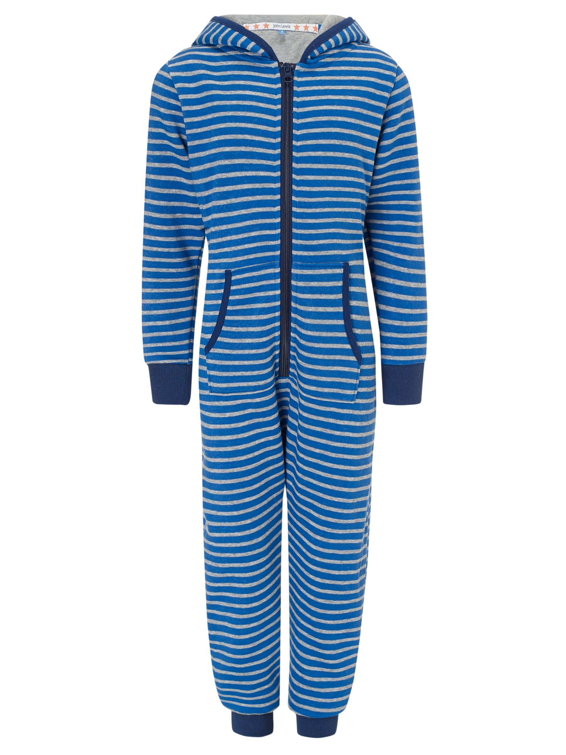 John Lewis Boy Striped Hooded Onesie, Blue/Grey
