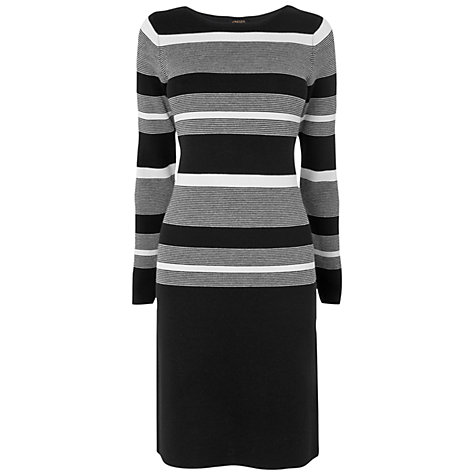Buy Jaeger Stripe Knitted Dress, Black Online at johnlewis.com