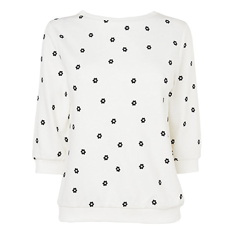 Buy Jaeger Floral Jersey Jumper, Ivory Online at johnlewis.com