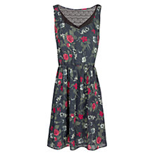 Buy Mango Lace Panel Floral Print Dress, Black Online at johnlewis.com