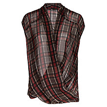 Buy Mango Plaid Wrap Detail Blouse, Black Online at johnlewis.com