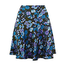 Buy Jigsaw Retro Seventies Floral Silk Flared Skirt, Blue Online at johnlewis.com