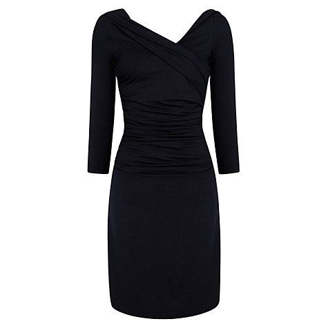Buy Mango Fitted Draped Dress, Navy Online at johnlewis.com