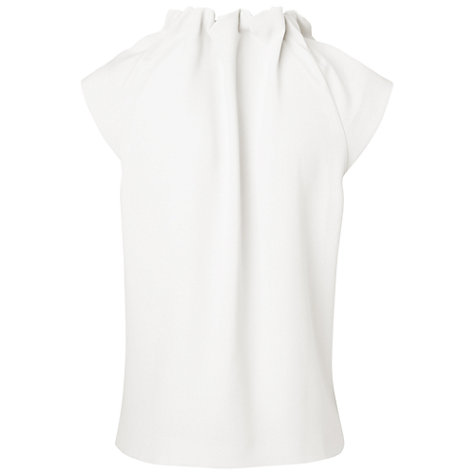 Buy Jaeger Ruched High Neck Blouse, Ivory Online at johnlewis.com