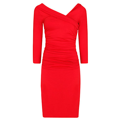 Buy Mango Fitted Draped Dress, Bright Red Online at johnlewis.com