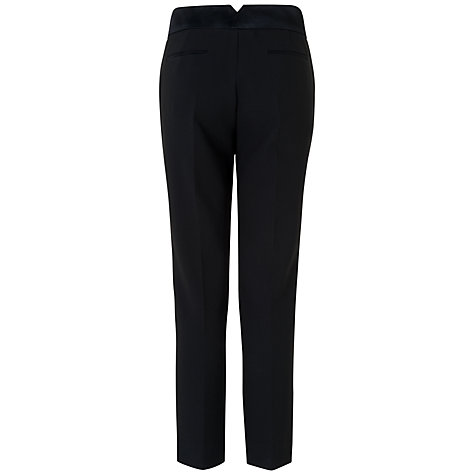 Buy Jaeger Satin Trim Trousers, Black Online at johnlewis.com
