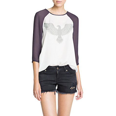 Buy Mango Textured Eagle Chiffon Blouse, Natural White Online at johnlewis.com