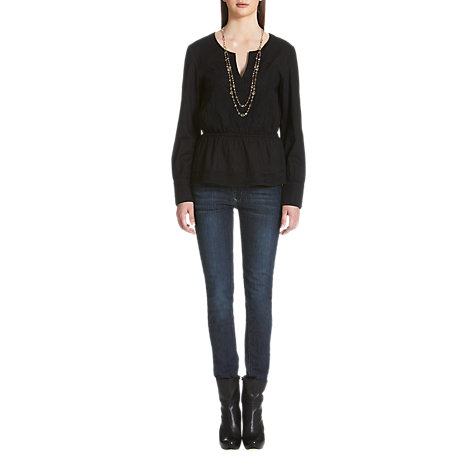 Buy Jigsaw Embroidered Shirt, Black Online at johnlewis.com