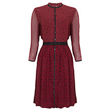 Buy Jigsaw Feather Print Dress, Berry Online at johnlewis.com