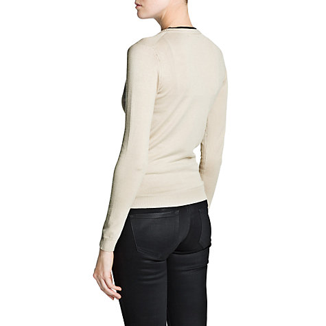 Buy Mango Contrasting Trim Cardigan, Light Beige Online at johnlewis.com