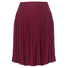 Buy Jigsaw Feather Print Pleated Skirt, Berry Online at johnlewis.com