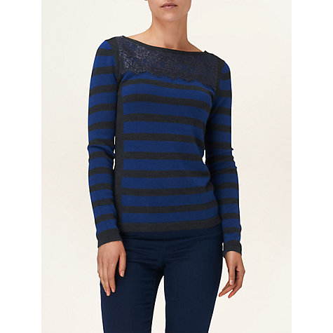 Buy Phase Eight Lavinia Lace Stripe Jumper, Sapphire Online at johnlewis.com