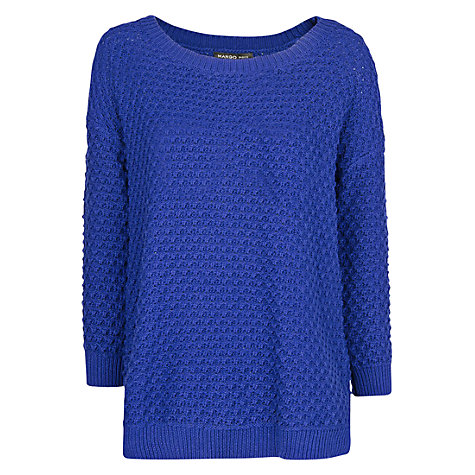 Buy Mango Waffle Knit Jumper, Bright Blue Online at johnlewis.com