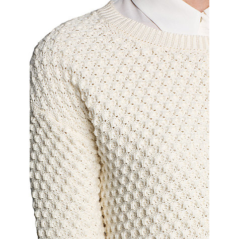 Buy Mango Waffle Knit Cotton Jumper, Cream Online at johnlewis.com