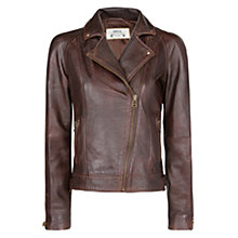 Buy Mango Leather Biker Jacket, Brown Online at johnlewis.com