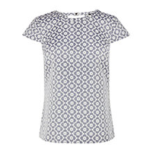 Buy Oasis Floral Jacquard T-Shirt, Multi Blue Online at johnlewis.com