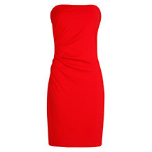 Buy Mango Ruched Detail Strapless Dress, Bright Red Online at johnlewis.com