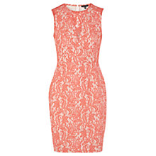 Buy Warehouse Bonded Panel Lace Dress, Coral Online at johnlewis.com