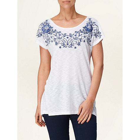 Buy Phase Eight Maria Embroidered T-Shirt, White Online at johnlewis.com