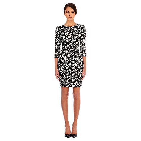Buy Warehouse Mono Floral Print Dress, Black Online at johnlewis.com