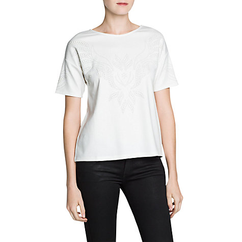 Buy Mango Textured Jumper, Natural White Online at johnlewis.com