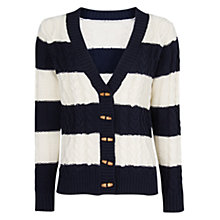 Buy Mango Striped Cable Knit Cardigan, Navy/Cream Online at johnlewis.com