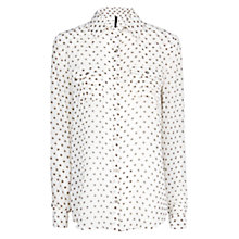 Buy Mango Flower Print Shirt, Natural White Online at johnlewis.com