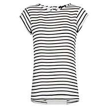 Buy Mango Striped Chiffon Panel T-Shirt, Black Online at johnlewis.com