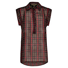 Buy Mango Lightweight Plaid Top, Black Online at johnlewis.com